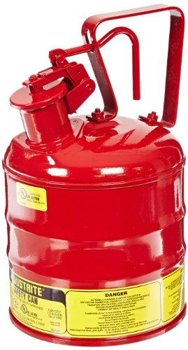 Justrite Type 1 Steel Safety Can with Trigger Handle for Flammables - 1 Gallon Red