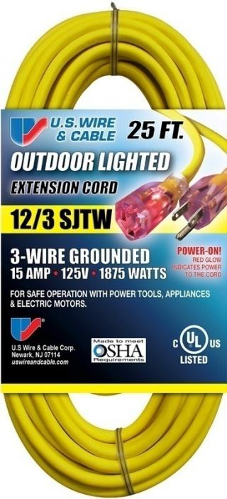 Outdoor Lighted Extension Cord - 12/3 SJTW - 300V - 15A - 1875W - 25'