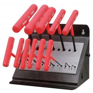 Wright Tool 9E60614, 13 Piece Fractional Vinyl Grip T-Handle Set in Metal Stand