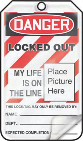 Accuform OSHA Danger Self-Laminating Safety Tag: Locked Out