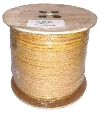 3/8 Inch 3 Strand Yellow Polypropylene Rope - 600 Feet