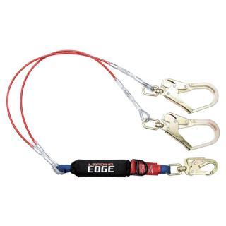 FallTech 6 Foot Leading Edge Cable Energy Absorbing Lanyard with Double-leg Swivel Connectors and SRL D-ring