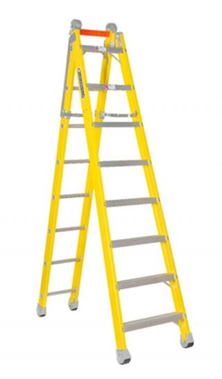 Louisville Ladder 8-Foot Fiberglass Step to Straight Ladder, Type IAA