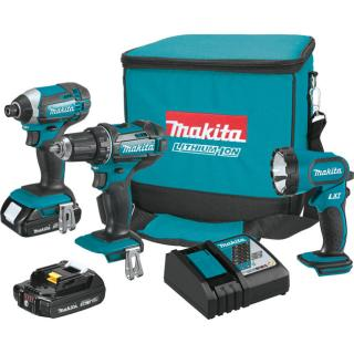 Makita 18V LXT Lithium-Ion Compact Cordless 3-Piece Combo Kit - 2.0Ah
