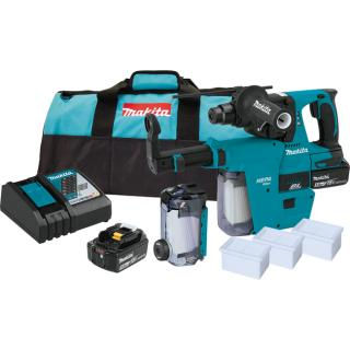 Makita 18V LXT Lithium-Ion Brushless Cordless 1 Inch Rotary Hammer Kit with HEPA Dust Extractor (5.0Ah)