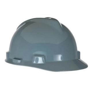 MSA V-Gard Slotted Hard Hat, Navy/Gray with Fas-Trac III Suspension