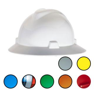 MSA V-Gard Protective Full Brim Hard Hat with Fas-Trac Ratchet Suspension