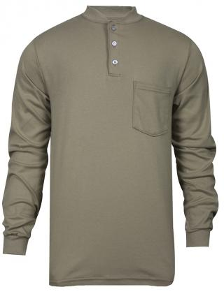National Safety Apparel FR Classic Cotton Khaki Henley Shirt