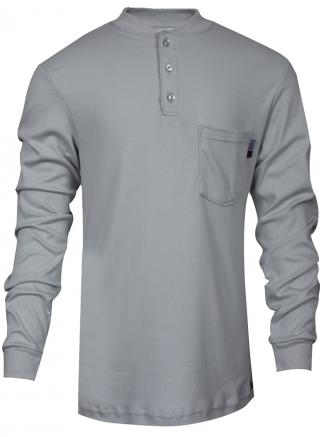 National Safety Apparel FR Classic Cotton Gray Henley Shirt
