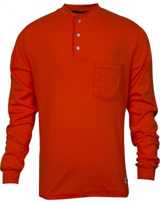 National Safety Apparel FR Classic Cotton Orange Henley Shirt