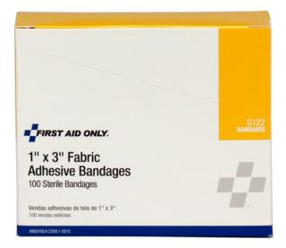 First Aid Only 1 Inch by 3 Inch Fabric Bandages, 100 Per Box