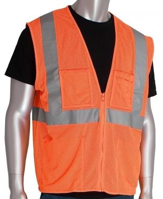 PIP ANSI Class 2 Type R 4 Pocket Hi-Vis Orange Mesh Vest