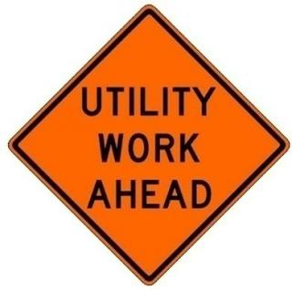 Bone Safety Hi-Intensity Reflective Sign 'Utility Work Ahead'