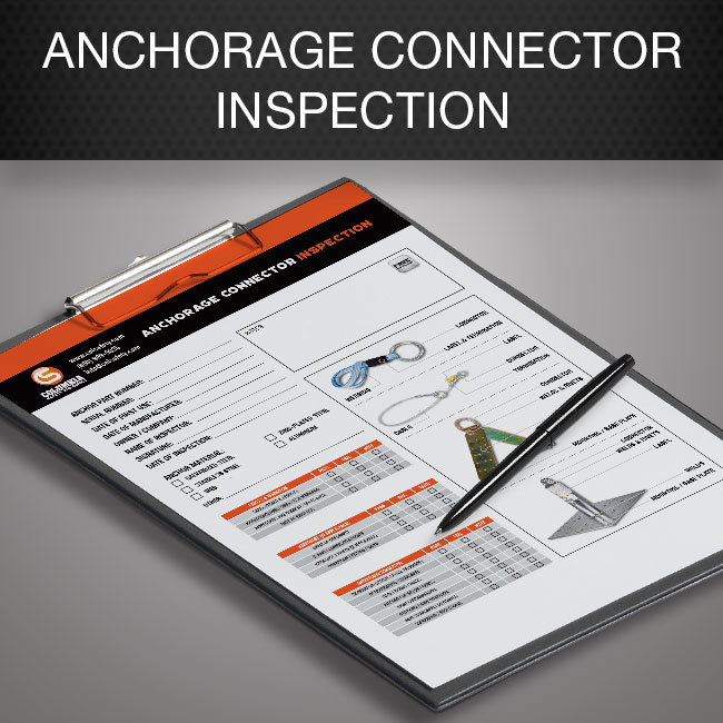 Anchorage connector inspection form by Columbia Safety and Supply