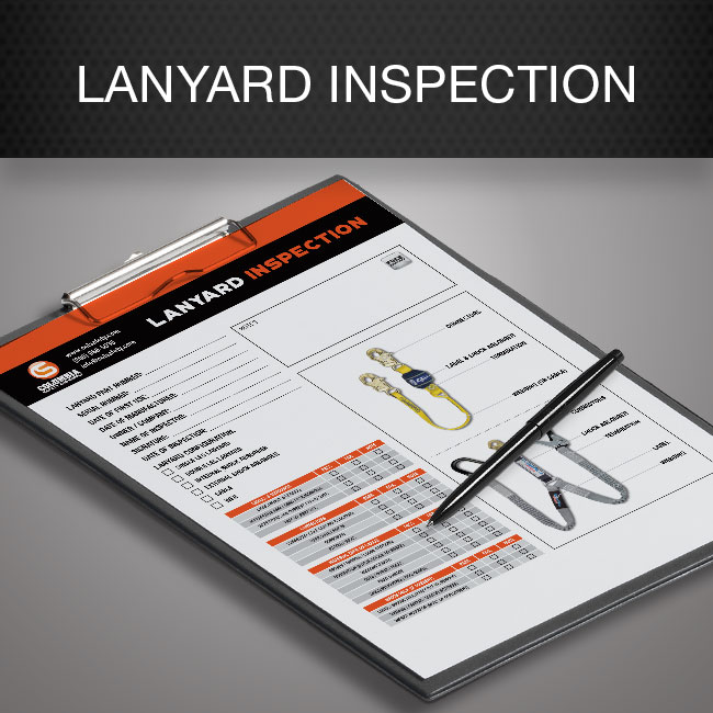 Lanyard inspection form by Columbia Safety and Supply