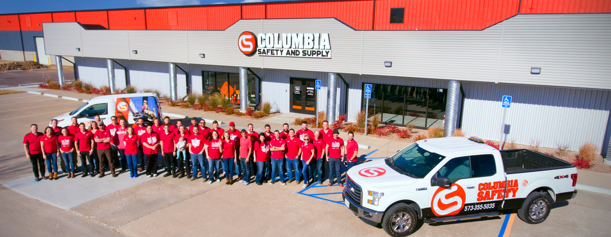 A picture of the Columbia Safety and Supply team at our corporate headquarters in Columbia, MO