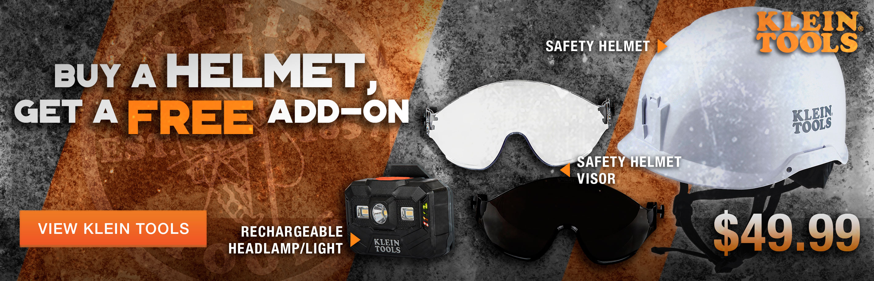 Get a free visor or headlamp with the purchase of a Klein Tools Safety Helmet at Columbia Safety and Supply