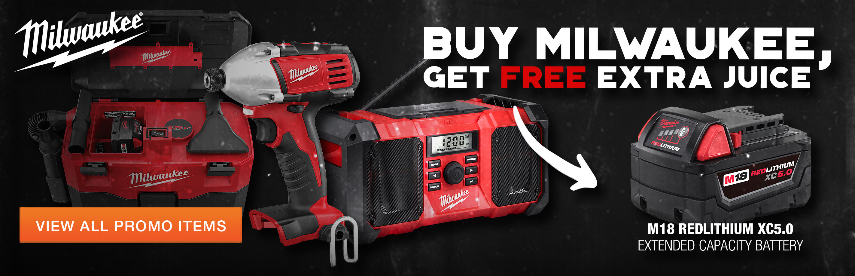 Get a free Milwaukee M18 Battery with select tool purchases at Columbia Safety and Supply