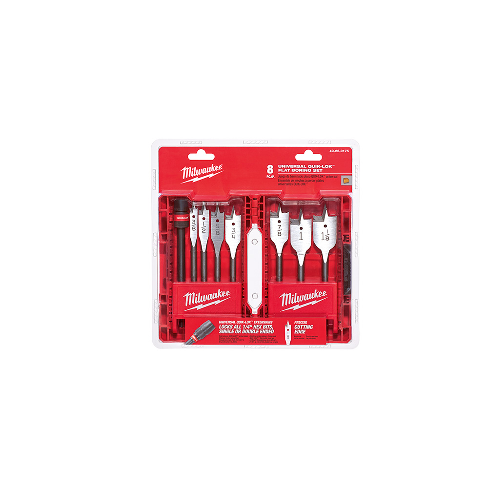 Milwaukee 6 Inch Flat Boring Bit 8 Piece Universal Set from Columbia Safety