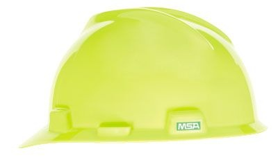 MSA V-Gard Slotted Hard Hat with Fas-Trac III Suspension - Hi-Viz Yellow