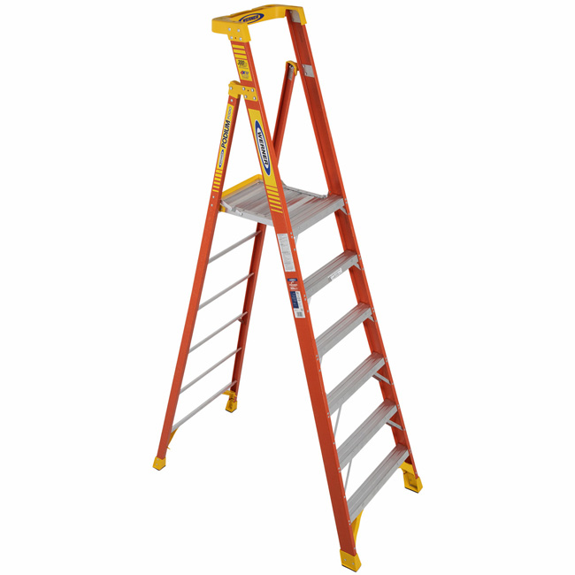 Werner 6 Foot Fiberglass Podium Ladder Type IA from Columbia Safety